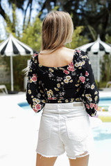 Floral Top in Black Back View