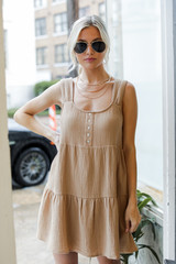Taupe - Linen Dress from Dress Up