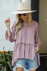Ruffled Tunic Blouse Front View