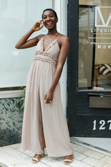Taupe - Model wearing a Ruffled Jumpsuit