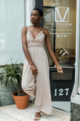 Taupe - Dress Up model wearing a Ruffled Jumpsuit