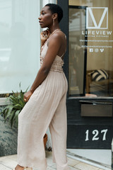 Ruffled Jumpsuit in Taupe Side View