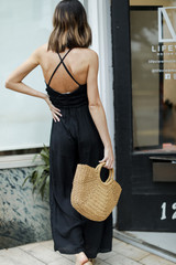 Ruffled Jumpsuit in Black Back View