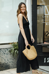 Ruffled Jumpsuit in Black Side View