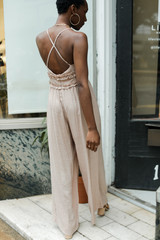 Ruffled Jumpsuit in Taupe Back View