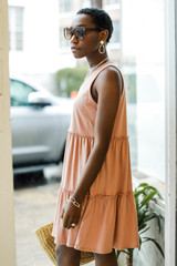 Tiered Dress in Peach Side View