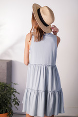Tiered Dress in Light Blue Back View
