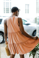 Tiered Dress in Peach Back View