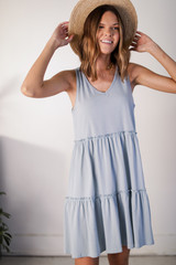 Tiered Dress in Light Blue Front View