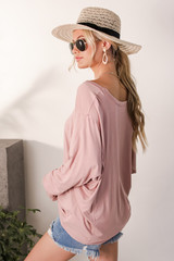 Oversized Tee in Blush Side View