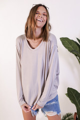 Oversized Tee in Grey Front View