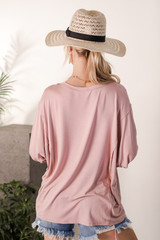 Oversized Tee in Blush Back View