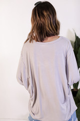 Oversized Tee in Grey Back View