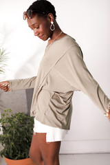 Oversized Tee in Olive Side View
