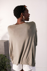 Oversized Tee in Olive Back View
