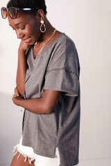 Oversized Tee in Charcoal Side View