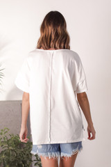 Oversized Tee in Ivory Back View