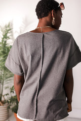 Oversized Tee in Charcoal Back View