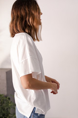 Oversized Tee in Ivory Side View
