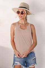 Taupe - Model wearing an Everyday Tank