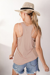Everyday Tank in Taupe Back View