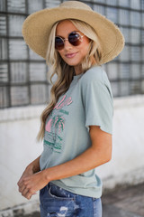 Charleston Beaches Graphic Tee in Sage Side View