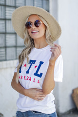 White ATL Baseball Graphic Tee Side View