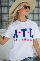 White ATL Baseball Graphic Tee Front View