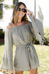 Olive - Bell Sleeve Romper Front View
