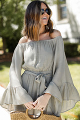 Olive - Bell Sleeve Romper Front View on model