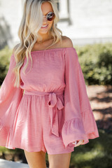 Bell Sleeve Romper in Light Pink Front View