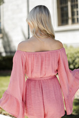 Bell Sleeve Romper in Light Pink Back View