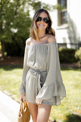 Bell Sleeve Romper in Olive Front View