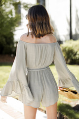 Bell Sleeve Romper in Olive Back View
