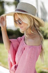 Frayed Straw Boater Hat in Natural Side View