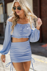 Dress Up model wearing a Ruched Mini Skirt