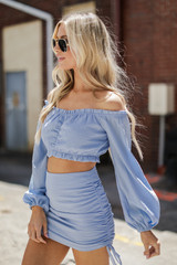 Model wearing a Ruched Crop Top