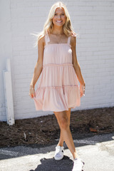 Tiered Dress in Blush Front View