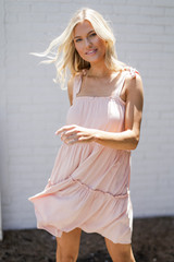 Tiered Dress in Blush Side View