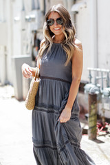 Crochet Halter Maxi Dress in Charcoal Front View