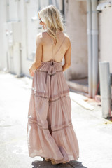 Crochet Halter Maxi Dress in Taupe Back View