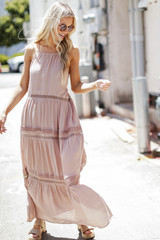 Crochet Halter Maxi Dress in Taupe Front View