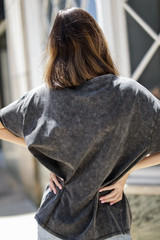 Acid Washed Tee in Black Back View