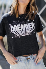 Charcoal - Dreamer Cropped Graphic Tee from Dress Up