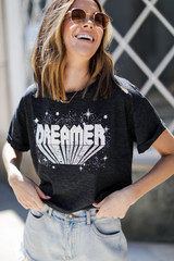Charcoal - Dreamer Cropped Graphic Tee
