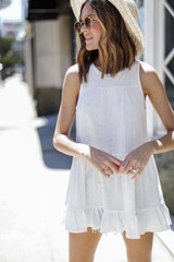 White - Dress Up model wearing a Tiered Tank with a straw hat