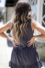 Tiered Tank in Charcoal Back View