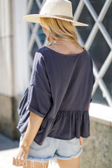 Babydoll Tee in Charcoal Back View