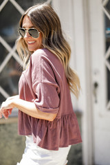 Babydoll Tee in Mauve Side View
