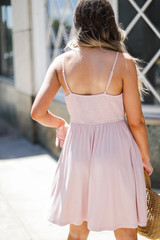Babydoll Dress in Mauve Back View